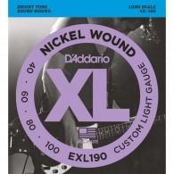 D'ADDARIO EXL190 CUSTOM LIGHT GAUGE CORDIERA PER BASSO ELETTRICO 4 CORDE CUSTOM LIGHT - 040/100