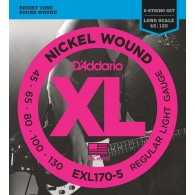 D'ADDARIO EXL170-5 REGULAR LIGHT GAUGE CORDIERA PER BASSO ELETTRICO 5 CORDE REGULAR LIGHT - 045/130