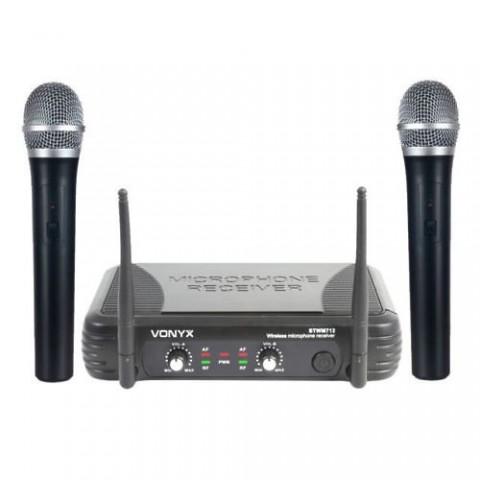 VONYX STWM 712 VHF SYSTEM DOPPIO RADIOMICROFONO PALMARE VHF