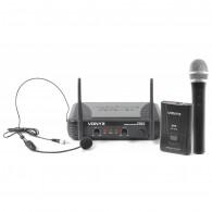 VONYX STWM 712C VHF SYSTEM DOPPIO RADIOMICROFONO PALMARE/HEADSET