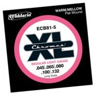 D'ADDARIO ECB81-5 REGULAR LIGHT GAUGE CORDIERA PER BASSO ELETTRICO 5 CORDE REGULAR LIGHT - 045/132