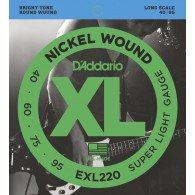 D'ADDARIO EXL220 SUPER LIGHT GAUGE CORDIERA PER BASSO ELETTRICO 4 CORDE SUPER LIGHT - 040/095