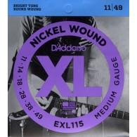 D'ADDARIO EXL115 MEDIUM GAUGE CORDIERA PER CHITARRA ELETTRICA NICKEL WOUND 011/049