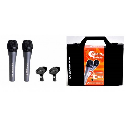 SENNHEISER E 835 E KIT2 (KIT 2 MICROFONI + 2 CLAMP + CUSTODIA RIGIDA)